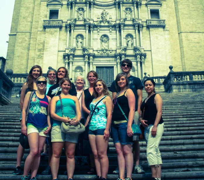Students on a study abroad trip in Barcelona, Spain.